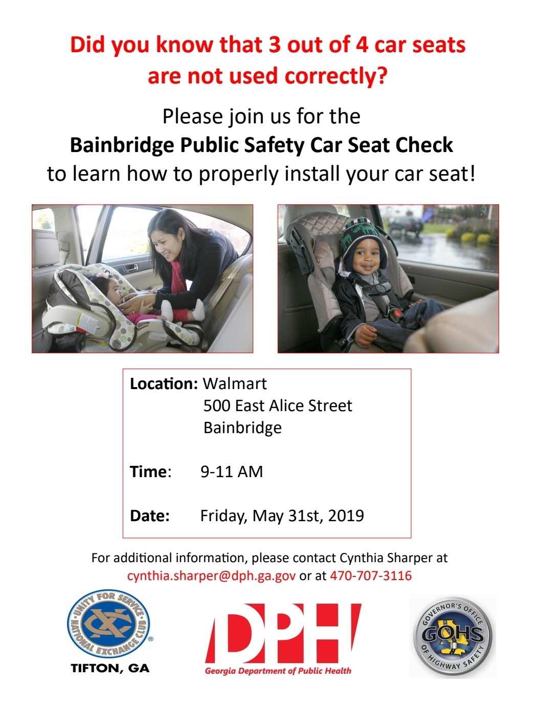 Bainbridge Public Safety Will Be Offering A Free Child Car Seat Check On Friday May 31 From 9AM To 11AM At Walmart