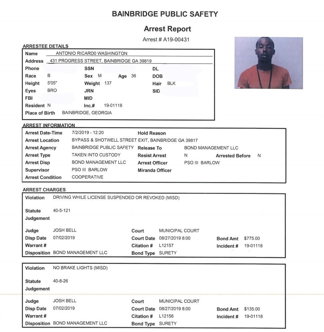 Arrest Reports 7/3/19 | BainbridgeGa com