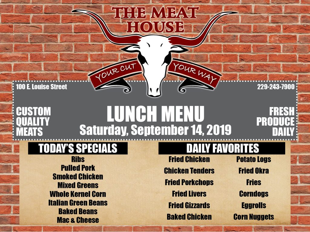 Meat House Menu for 9-14-19