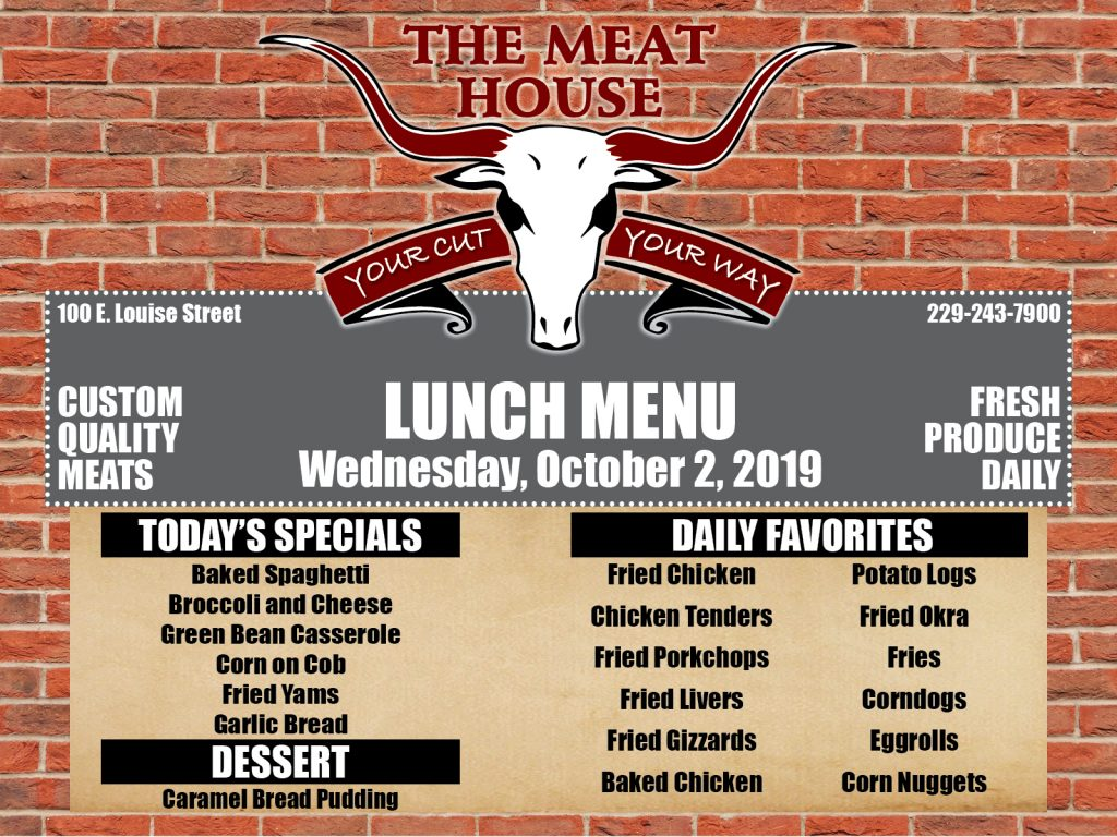 Meat House Lunch Menu for 10-2-2019